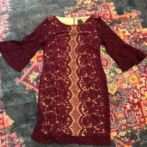Beautiful lace modest cocktail dress burgundy